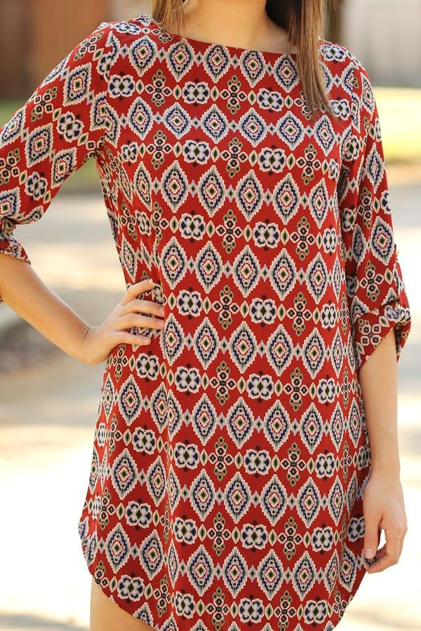 Cute pattern and colors on this shift dress!
