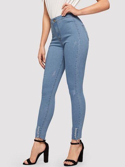 1b8a85ba009 Ripped Detail Bleach Wash Skinny Jeans | Demin Is Cool|Jeans|Denim ...