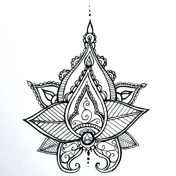 Lotus Mandala tatouage temporaire au henné Style Hand Drawn Illustration originale