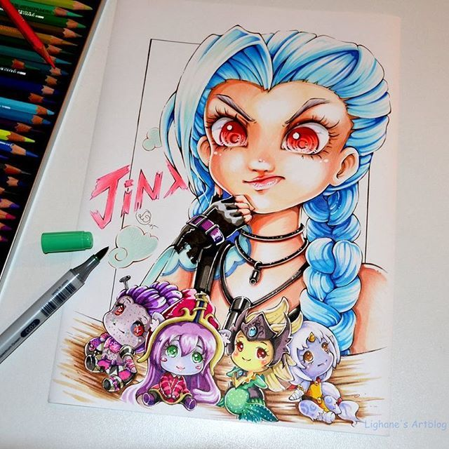 #jinx is struggling to find her support - which one will she pick? Oh, and don't forget: Only 6 hours left to buy my artbook for this year's christmas! Link in bio! <3 #cute #kawaii #lighanesartblog #Lighane #gaming #soraka #lulu #nami #orianna #game #adc #support #leagueoflegends #lol #christmas #artbook