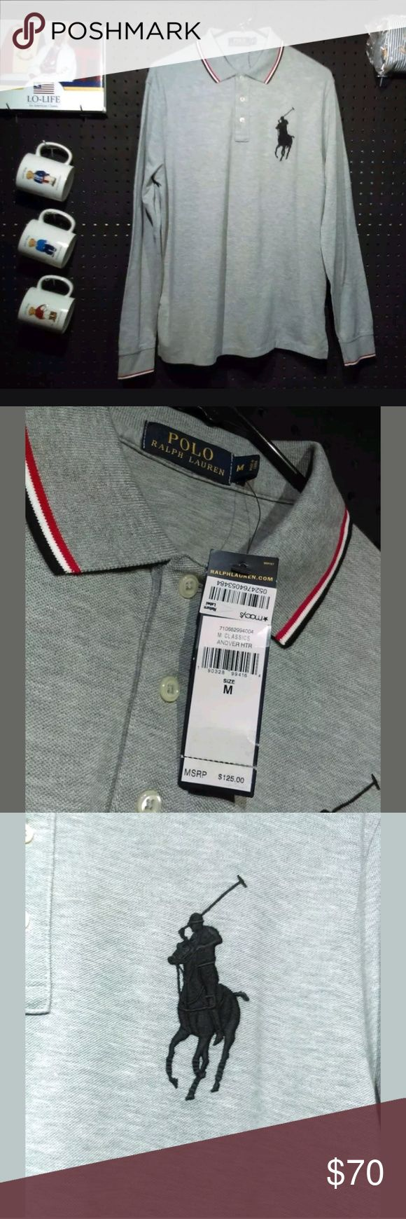 Mens M POLO RALPH LAUREN LONG SLEEVE OLMYPIC Brand new with collar and long sleeve polo by  ralph lauren grey shirt with Olympic colors on color and sleeve. Black poney detail on right. Original price 125 Mens Medium MACHINE WASHABLE 100 PERCENT cotton Polo by Ralph Lauren Shirts Polos
