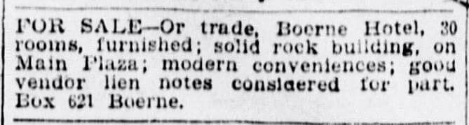 5/31/1909 San Antonio Express Newspaper, article courtesy of Andy Crews on Facebook. Boerne, Texas history.