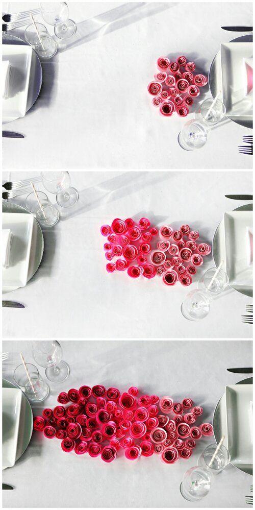 ombre paper rose centerpieces