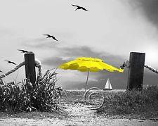 Beach Umbrella-Yellow Home Decor Picture Wall Art Seascape Ocean