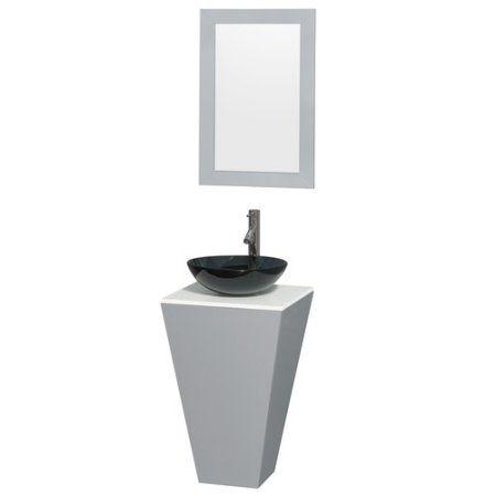 Wyndham Collection Esprit 20 inch Pedestal Bathroom Vanity in Gray, White Man-Made Stone Countertop, Smoke Glass Sink and 20 inch Mirror