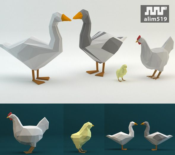 3DOcean Low Poly Set Duck Chicken Poult 10445104