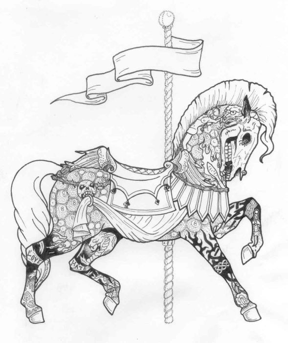 This picture was born of a challenge, 'If you can draw it, I can sling the ink!' taking this to heart, I drew a carousel horse of tatto-rific proportions. We have yet to find anyone who wants to wear it for life, but the art was enough to make the challenger think twice about daring me to draw something! :)