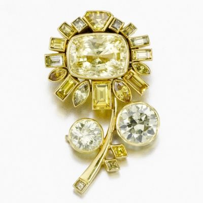 Yellow Sapphire and Diamond Brooch, by Suzanne Belperron