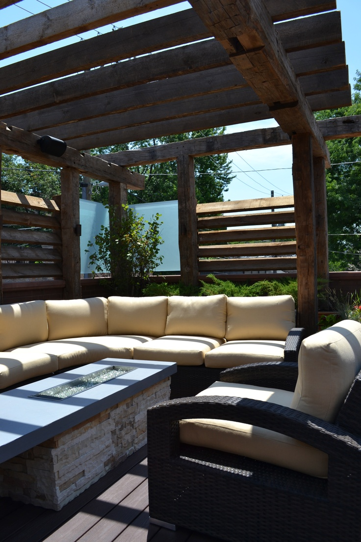 Chicago - Reclaimed Timber Pergola with Louvered Slats and Glass Panels, Built in Tali Planters with Ornamental Trees/Grasses/Boxwood/Perennial Grasses, Sectional and Lounge Chair, Custom Firepit, and Lighting