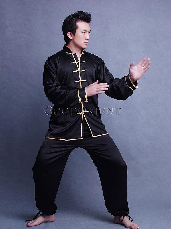 Men/'s Cotton Kung Fu Uniform Top Martial Arts in Black New
