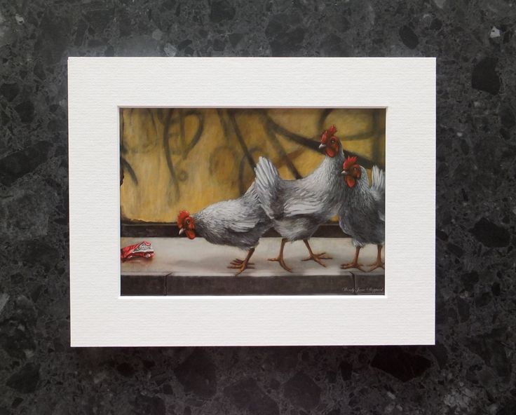 Modern Art Print,Chicken Art,Contemporary Decor,Wall&Table Art,Easy Frame and Display,WendyJaneSheppard Original,May Contain Traces Of by ArtWendyJaneSheppard on Etsy