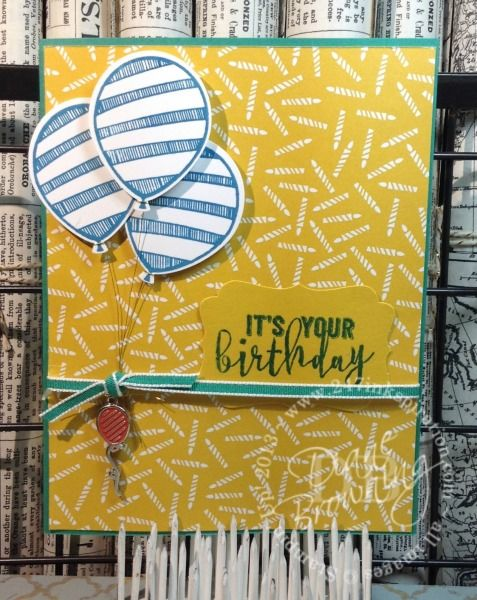 "OnStage 2016 (November) Display Sample by Diane Browning: Party Animal Suite, Balloon Adventures stamp set, Party Animal Designer Series Paper, Party Animal Embellishments, Emerald Envy 1/8"" Tafetta Ribbon."
