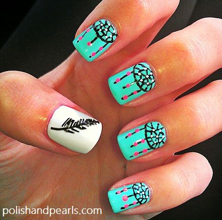 feather and dreamcatcher nails