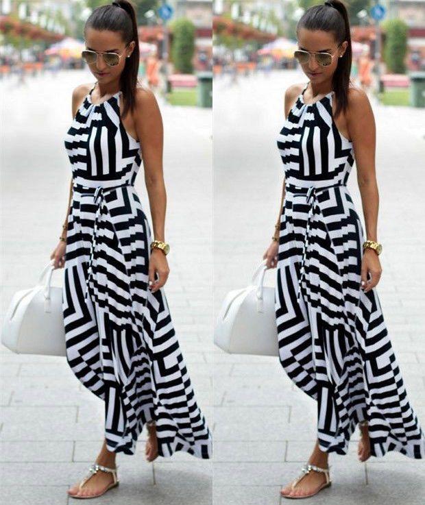 Women Sexy Summer Dress Boho Maxi Long Striped Sleeveless Party Dress Beach Clothing Dress Women Summer