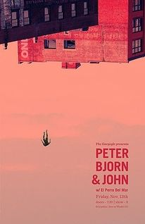 MARY-ANN This poster is an advertisement for Peter Bjorn & John visiting the country. This is a metaphorical poster as it leaves the viewer wondering why the buildings are upside down and a man is falling. Could it be that he is falling into earth? Could there be a twist to 'different worlds'? It is effective in the sense that the viewer is intrigued and would like to know more.