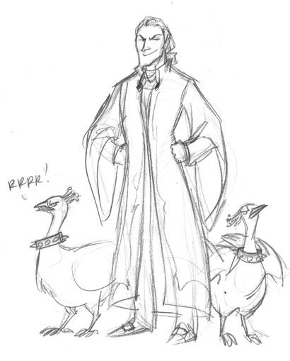 Malfoy and his albino guard peacocks. XD art by Makani, #