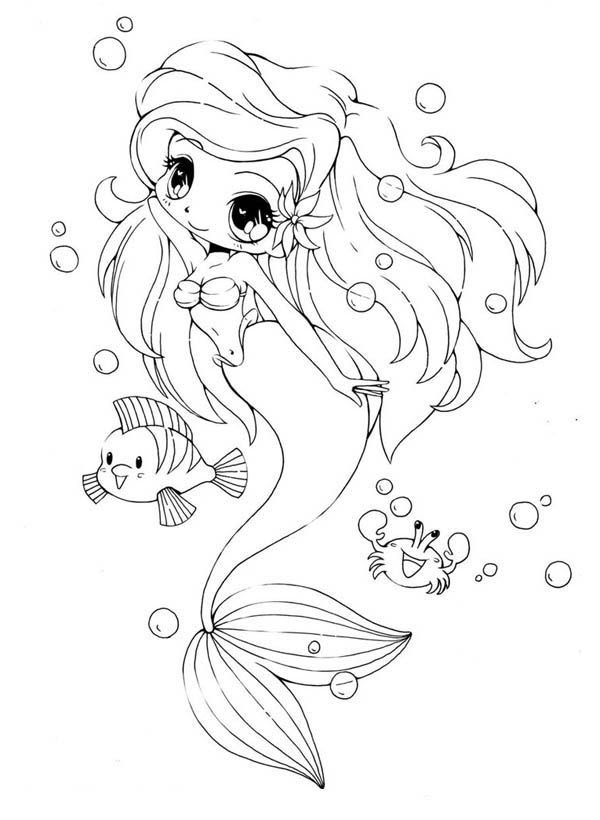 Anime Mermaid Coloring Pages 13