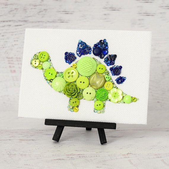 Custom Button Dinosaur - Handmade Button Art - Stegosaurus Dinosaur Wall Art… Más