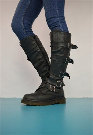 VINTAGE 90S DR. MARTENS BLACK LEATHER BUCKLE BOOTS PUNK