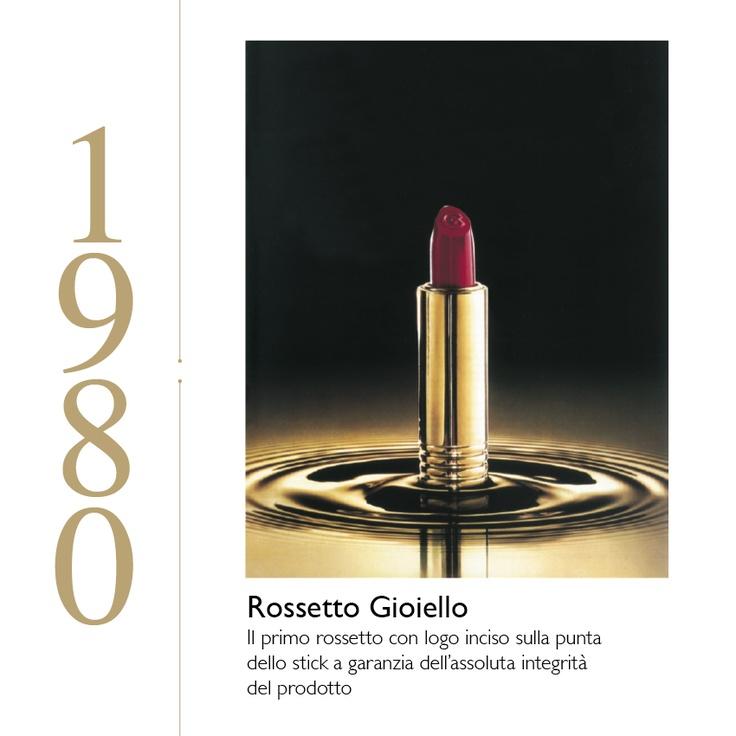 ROSSETTO GIOIELLO  Il primo rossetto con logo inciso sulla punta dello stick a garanzia dell'assoluta integrità del prodotto.