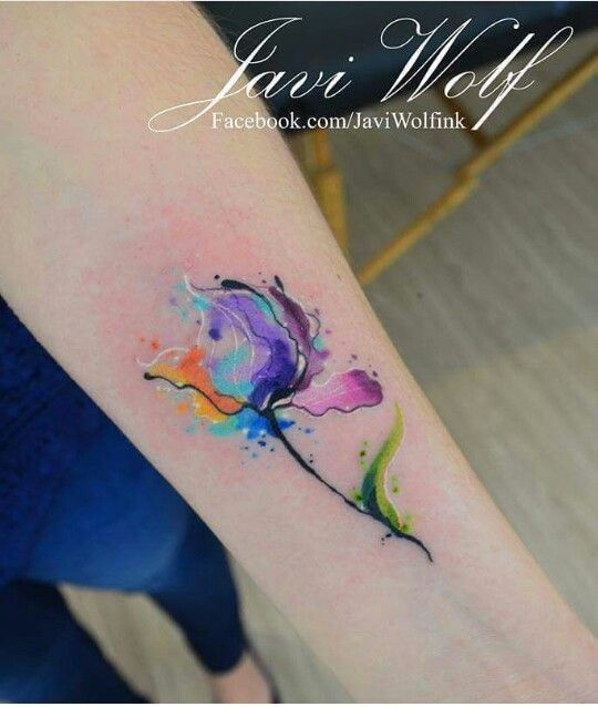 Watercolor flower tattoo by Javi Wolf
