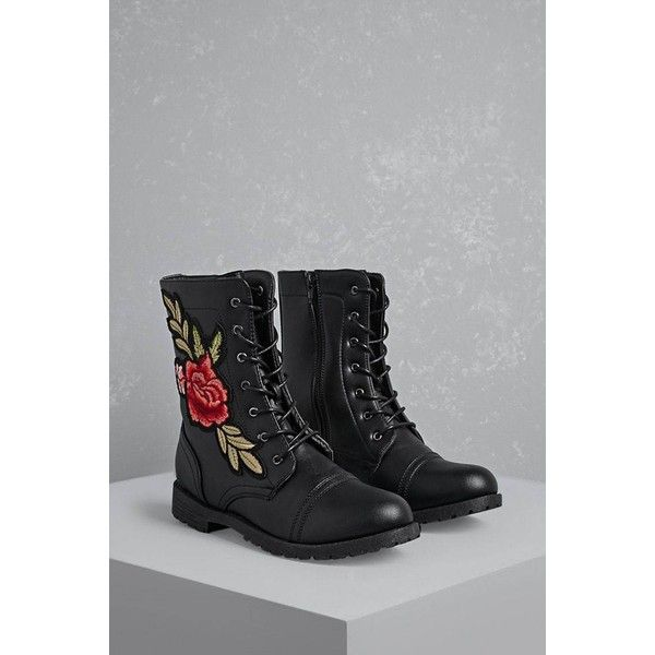 Forever21 Floral Patch Combat Boots ($28) ❤ liked on Polyvore featuring shoes, boots, ankle boots, black, black lace-up boots, black army boots, platform combat boots, black combat boots and lace up combat boots