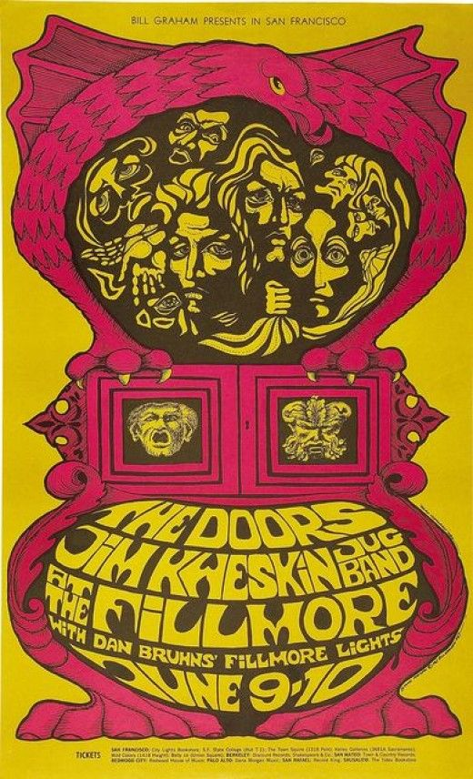The Doors Fillmore West Concert Poster Bill Graham 1967 BG-67 Poster Art and Graphic Design by Bonnie MacLean Vintage Pop Art