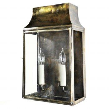 Strathmore Medium Flush Outdoor Lantern, Light Antique Brass
