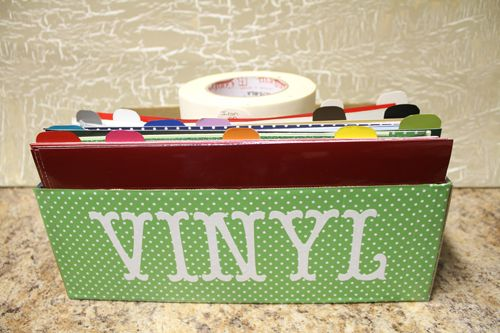 Cute way to store all my vinyl sheets.