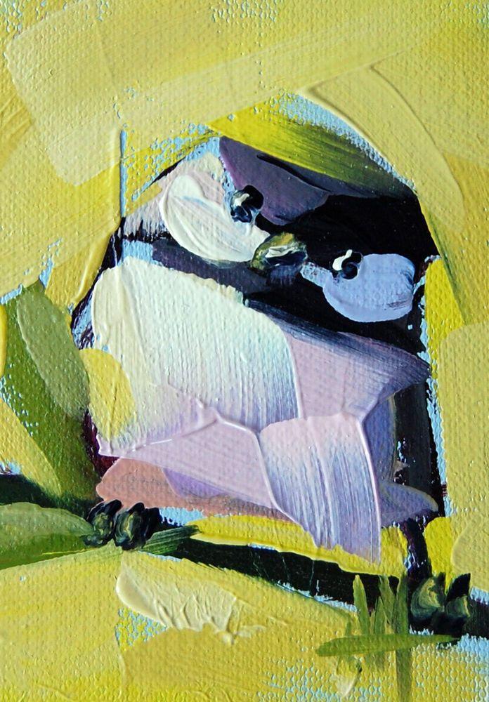Chickadee no. 433 original bird oil painting by moulton aceo
