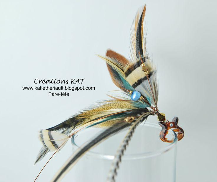 Pare-tête, plumes pour les cheveux, perles, cristaux, Créations KAT, www.katietheriault.blogspot.com
