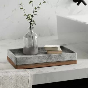 Greyleigh Stonington Concrete Stone/Wooden Amenity Tray You are in the right place about bathroom accessories png Here we offer you the most beautiful pictures about the bathroom accessories brushed n