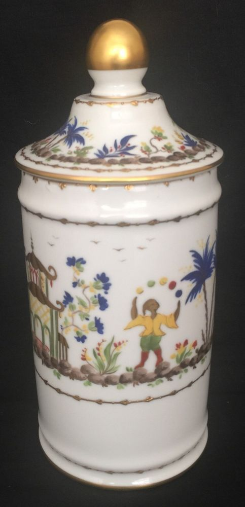LE TALLEC FRANCE FRENCH LIMOGES RARE CIRQUE CHINOIS Apothecary Jar Tiffany
