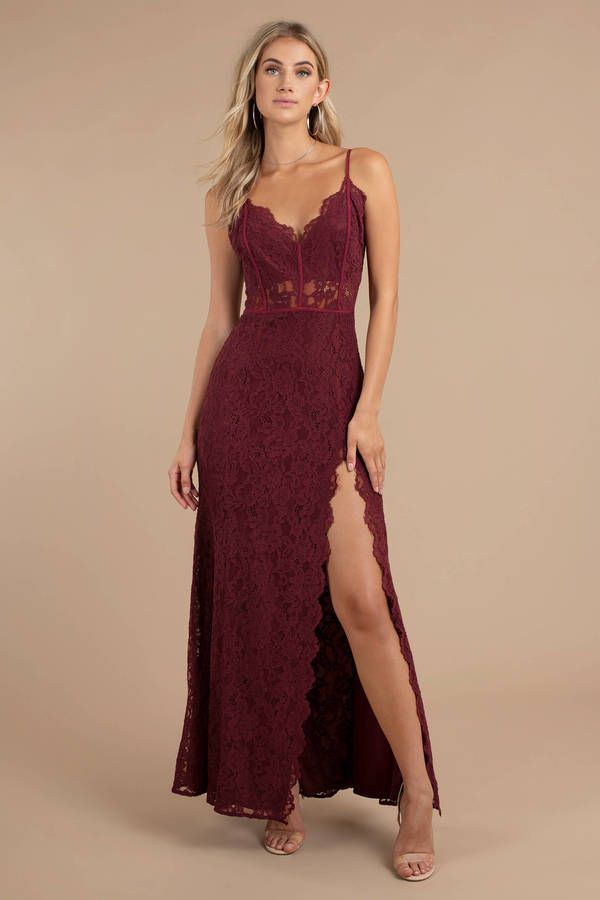 771c872c82018d The Delaney Wine Side Slit Lace Maxi Dress designed by Tobi features a  beautiful lace overlay with a v-neckline, high thigh slit, and scalloped  hem!