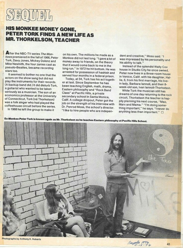 Peter Tork, teacher