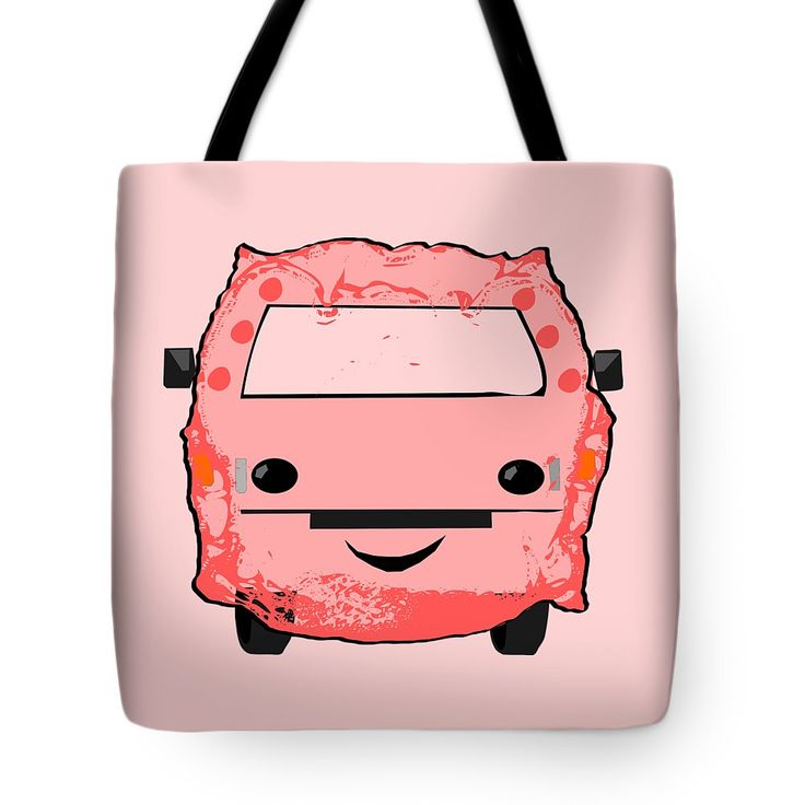 Poopmobile In Pink Tote Bag by Sverre Andreas Fekjan.  The tote bag is machine washable, available in three different sizes, and includes a black strap for easy carrying on your shoulder.  All totes are available for worldwide shipping and include a money-back guarantee.