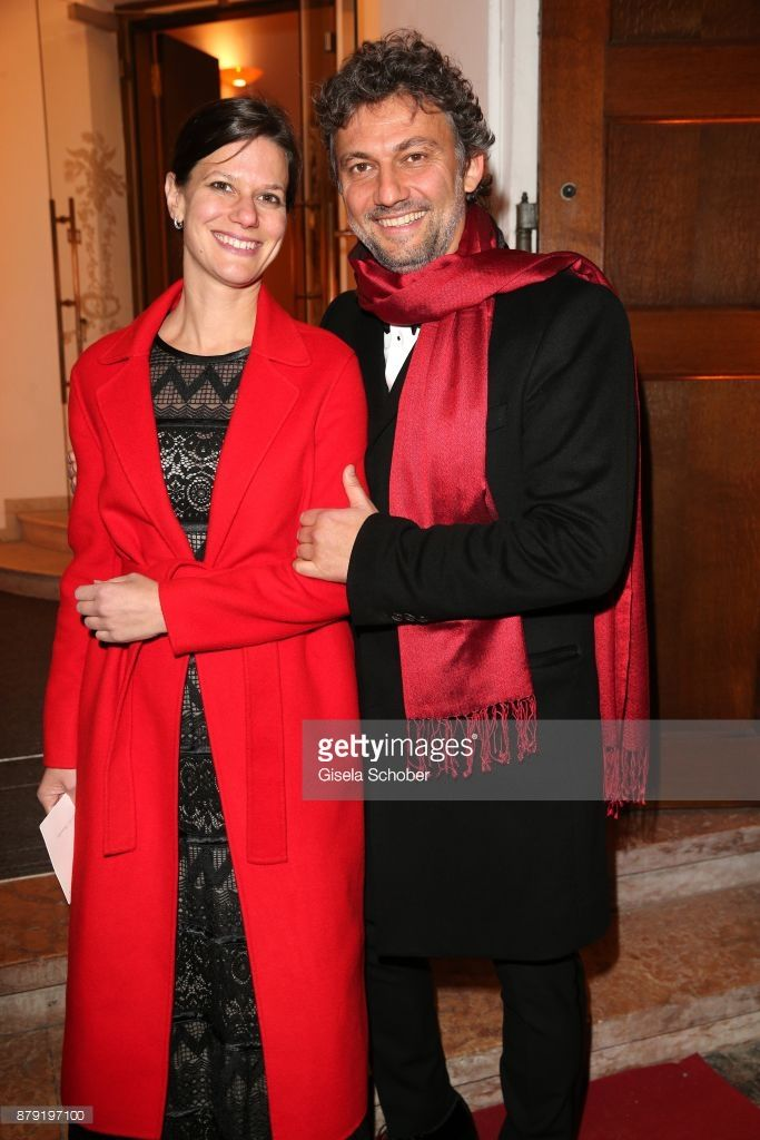 Jonas Kaufmann and his partner Christiane Lutz during the 80th birthday party of Roland Berger at Cuvillies Theatre on November 25, 2017 in Munich, Germany.