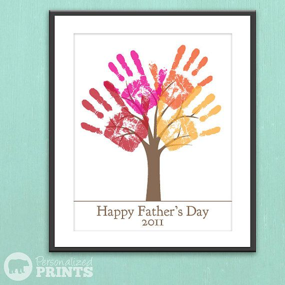 DIY Child's Handprint Tree for Fathers Day: Craft, Handprint, Gift Ideas, Fathers Day, Father'S Day, Kid