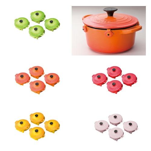 アウトレット品はピンがついてないので、鍋の色に合わせてオレンジを購入  http://www.lecreuset.co.jp/onlineshop/plastic-pin-cocotte-ronde.html