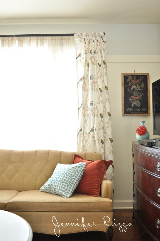 """Cute Curtains made from Target tablecloths  """"Brought to you by NBC's American Dream Builders, Hosted by Nate Berkus"""""""