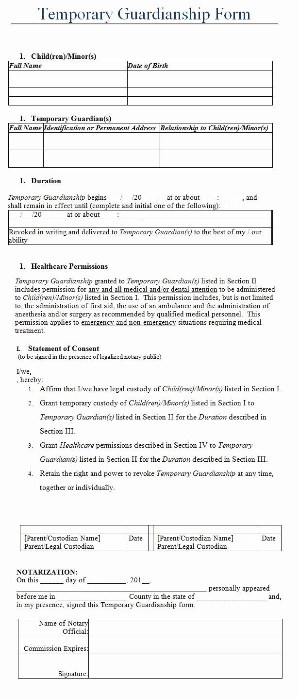 Free Temporary Guardianship Form Template Luxury Temporary Guardianship Form Template Sample Guardianship Letter Templates Reference Letter Free temporary guardianship form template