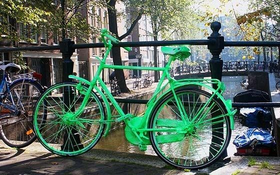 A green bike in #Amsterdam