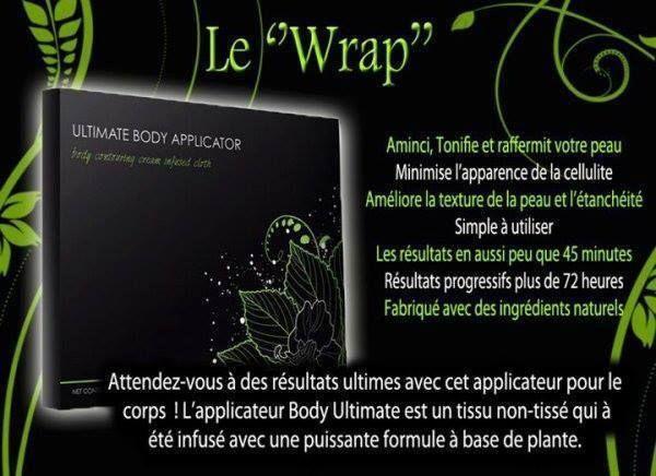 """Le """"Wrap"""" minceur ou l'ultimate body applicator vous surprendra en 45min ! Le wrap est un tissu imbibé d'une crème à base de plante qui permet de vous affiner en tonifiant et en raffermissant la peau. Attention il n'agit que sur la peau ! Vous n'aurez..."""