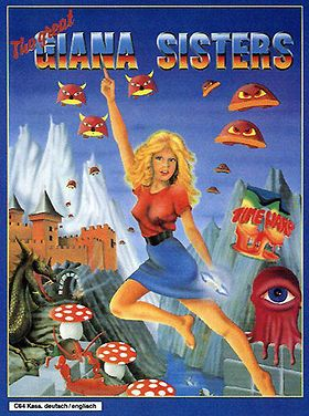 """Box art for """"The Great Giana Sisters,"""" a platform game for the Commodore 64 and other personal computers that featured such striking similarities to """"Super Mario Bros."""" that Nintendo threatened a lawsuit. Time Warp / Rainbow Arts ceased selling their 1987 game shortly thereafter."""