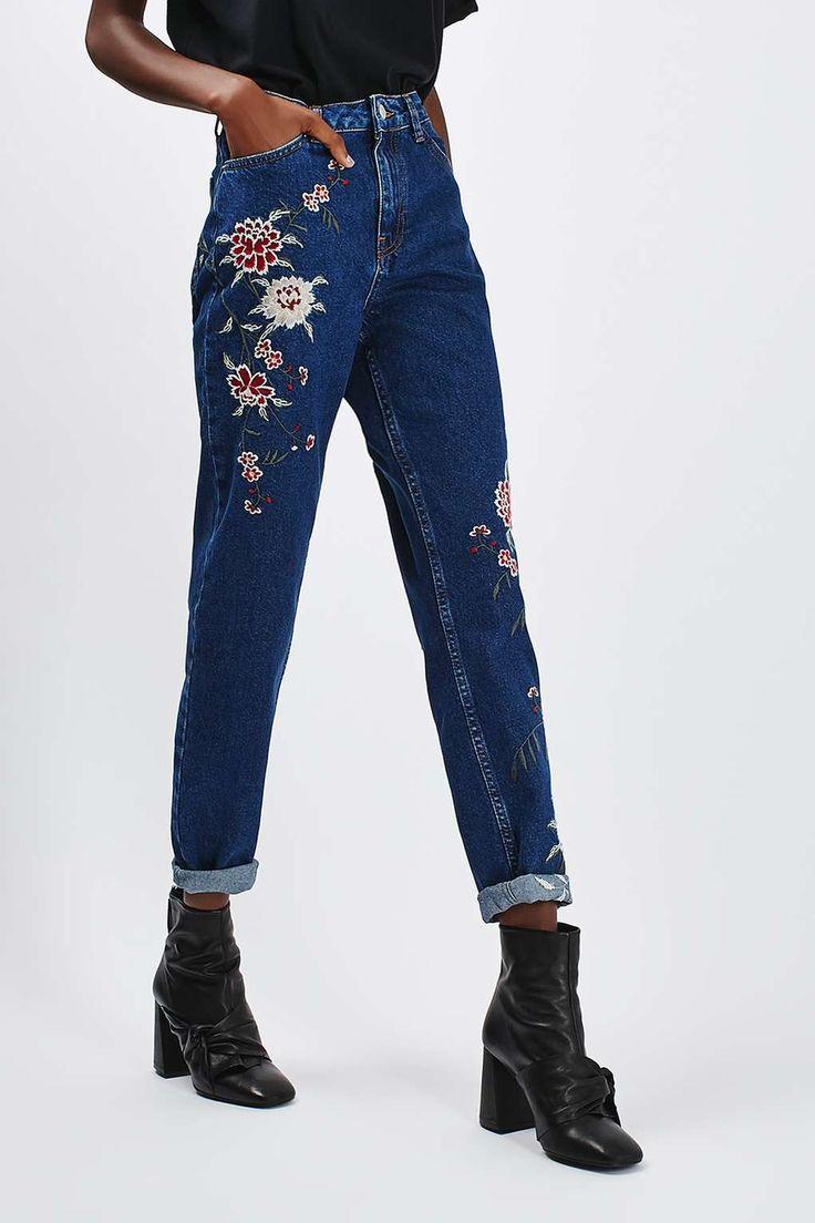 MOTO Dark Blue Embroidered Mom Jeans - Topshop