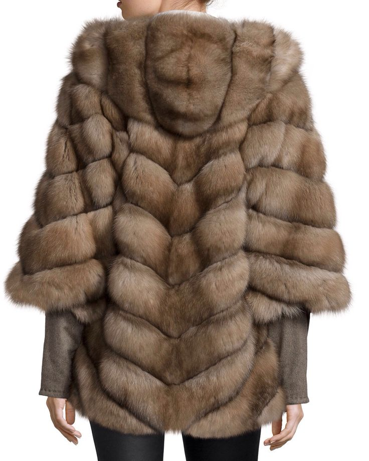 Giuliana Teso Tortora Dyed Russian Sable Fur Hooded Chevron Jacket with Cashmere Sleeves