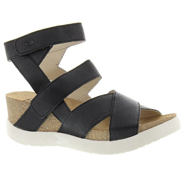 Fly London Wege Women's Black Sandal (255 CAD) ❤ liked on Polyvore featuring shoes, sandals, black, platform wedge sandals, wedge sandals, black wedge sandals, black sandals and wide width wedge sandals