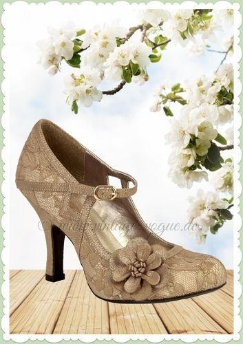 Ruby Shoo 40er Jahre Vintage Schuhe Blumen Pumps - Elsy - Gold Vintage Retro Blumen Pumps in gold Aus Kunstleder & Textil