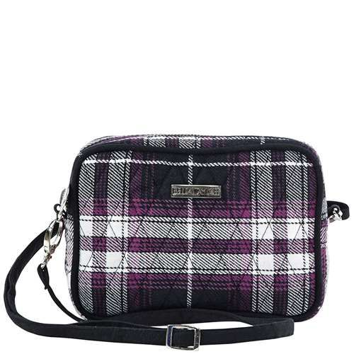 London Uptown Crossbody - The new Uptown Crossbody from our London Collection features a punchy plaid in purple, black and crisp white, accented with a jet black microsuede trim and strap. Inside you will see a purple and black herringbone lining featuring 3 card slots and 1 slip pocket. The Uptown Crossbody measures 6.75x1.75x4.75