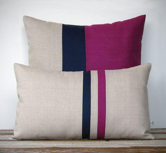 Sangria Pillow Set - (12x20) Stripe & (20x20) Colorblock by JillianReneDecor - Modern Home Decor